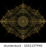 dark golden fractal mandala on... | Shutterstock . vector #1031157940