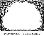 oval cover frame with natural... | Shutterstock .eps vector #1031158819