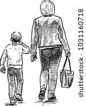 sketch of a mother with her son ...   Shutterstock .eps vector #1031160718