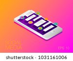vector phone chat interface.... | Shutterstock .eps vector #1031161006