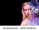 futuristic conceptual portrait... | Shutterstock . vector #1031163616