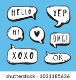 hand drawn set of speech... | Shutterstock .eps vector #1031185636