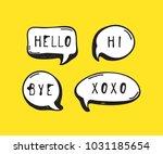 hand drawn set of speech... | Shutterstock .eps vector #1031185654