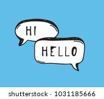 hand drawn set of speech... | Shutterstock .eps vector #1031185666