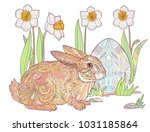 Stock vector happy easter coloring hand drawn doodle greeting card rabbit with egg and spring flowers 1031185864