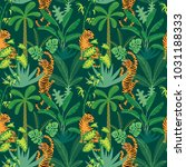seamless pattern with tigers... | Shutterstock .eps vector #1031188333