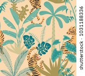 seamless pattern with tigers... | Shutterstock .eps vector #1031188336