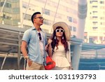how tourist from airport link... | Shutterstock . vector #1031193793