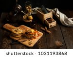 pancakes with apples topped... | Shutterstock . vector #1031193868