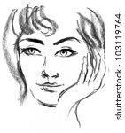 female silhouette. portrait of... | Shutterstock . vector #103119764