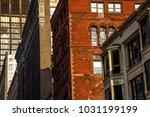 exterior facade of pre modern... | Shutterstock . vector #1031199199
