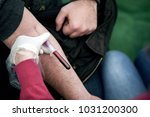 woman is taking a sample for... | Shutterstock . vector #1031200300