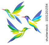 stylized birds in flight | Shutterstock .eps vector #1031201554