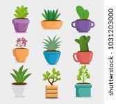 cute houseplant in pot | Shutterstock .eps vector #1031203000