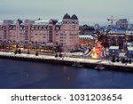 night view of downtowh harbour...   Shutterstock . vector #1031203654
