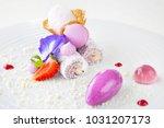 elegant dessert in plate ... | Shutterstock . vector #1031207173