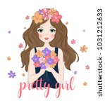 cute girl with flowers.t shirt... | Shutterstock .eps vector #1031212633