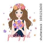 cute girl with flowers.t shirt... | Shutterstock .eps vector #1031212633