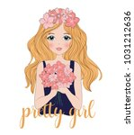 cute girl with flowers.t shirt... | Shutterstock .eps vector #1031212636
