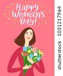 lovely girl holding a bouquet... | Shutterstock .eps vector #1031217964