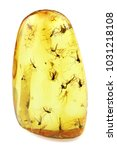 Small photo of Baltic amber with swarm of gnats isolated on white background
