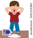 a young child is crying because ... | Shutterstock .eps vector #1031219383