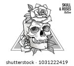 tattoo scull   roses design... | Shutterstock .eps vector #1031222419