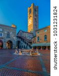 Small photo of BERGAMO, ITALY - DECEMBER 12, 2016: View of Piazza Vecchia with Civic Tower (Torre Civica Campanone) and Contarini fountainin in Citta Alta (old town).