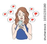 angry cyberbullying  negative... | Shutterstock .eps vector #1031233180