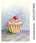 yummy cupcake with cream and... | Shutterstock . vector #1031237404