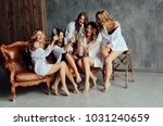 diverse group of female friends ... | Shutterstock . vector #1031240659