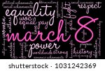 march 8 word cloud on a black... | Shutterstock .eps vector #1031242369