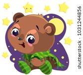 cute cartoon bear with blanket... | Shutterstock .eps vector #1031244856