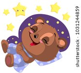 sleeping cartoon bear clipart... | Shutterstock .eps vector #1031244859