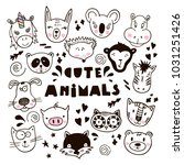 hand drawn animals  simple... | Shutterstock .eps vector #1031251426