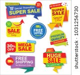 sale stickers and tags colorful ... | Shutterstock .eps vector #1031256730