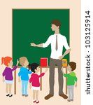 male teacher with students | Shutterstock .eps vector #103125914