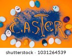 top view of easter sign made of ... | Shutterstock . vector #1031264539