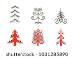 set of six red trees. national... | Shutterstock .eps vector #1031285890