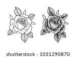 roses tattoo dot | Shutterstock .eps vector #1031290870