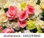 artificial pastel rose flowers | Shutterstock . vector #1031293840