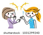 a woman who talks. | Shutterstock .eps vector #1031299240