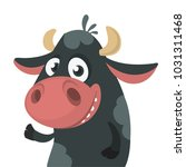 cartoon cute black cow standing ... | Shutterstock .eps vector #1031311468