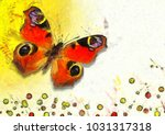 butterfly art impressionism | Shutterstock . vector #1031317318