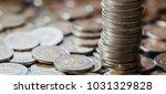five money coins stacks...   Shutterstock . vector #1031329828