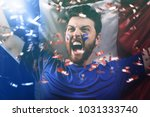 french fan celebrating | Shutterstock . vector #1031333740