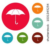 umbrella icons circle set ... | Shutterstock . vector #1031345254