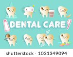 tooth with different emoji on... | Shutterstock . vector #1031349094