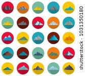 mountain icons set. flat... | Shutterstock . vector #1031350180