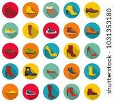 footwear shoes icon set. flat... | Shutterstock . vector #1031353180